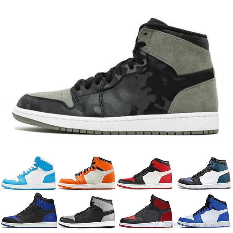 reputable site a6395 105d0 Großhandel Nike Air Jordan 1 1s Promotion 1 1s Männer Basketball Schuhe  Fragment New Love Schwarz Toe Gold Top 3 Kiefer Grün Schatten Camo Chicago  Sport ...