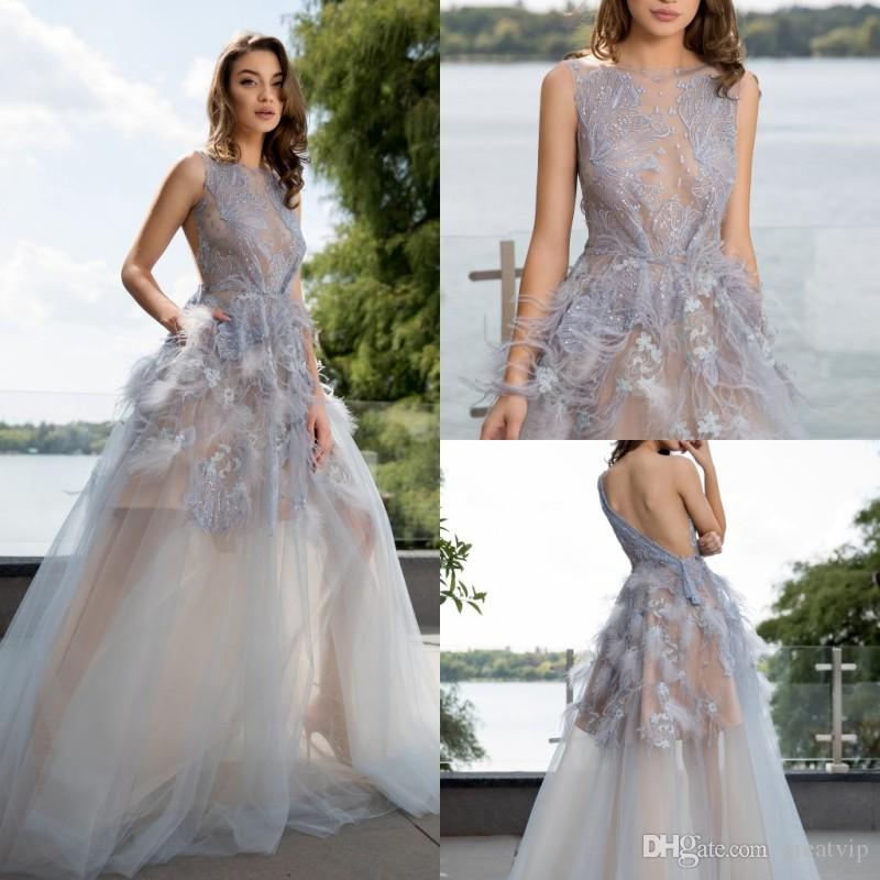 024e893ab399b Cristallini A Line Prom Dresses Lace Applique Beads Feather Backless Fairy  Evening Gowns Plus Size Special Occasion Gown Abendkleider