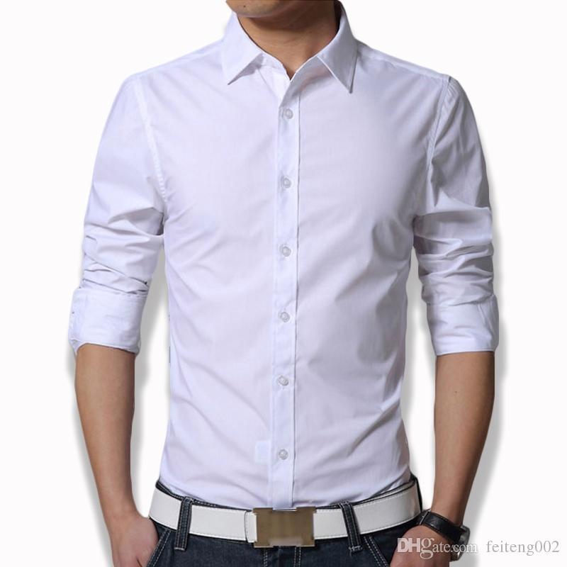 b7c4f62c5 2019 Asian Size XXXL Men'S Long Sleeve Fit Slim Shirt Plain White Army  Green Dress Shirt Men Clothes 2018 Mens Clothing CS12 #499057 From  Feiteng002, ...