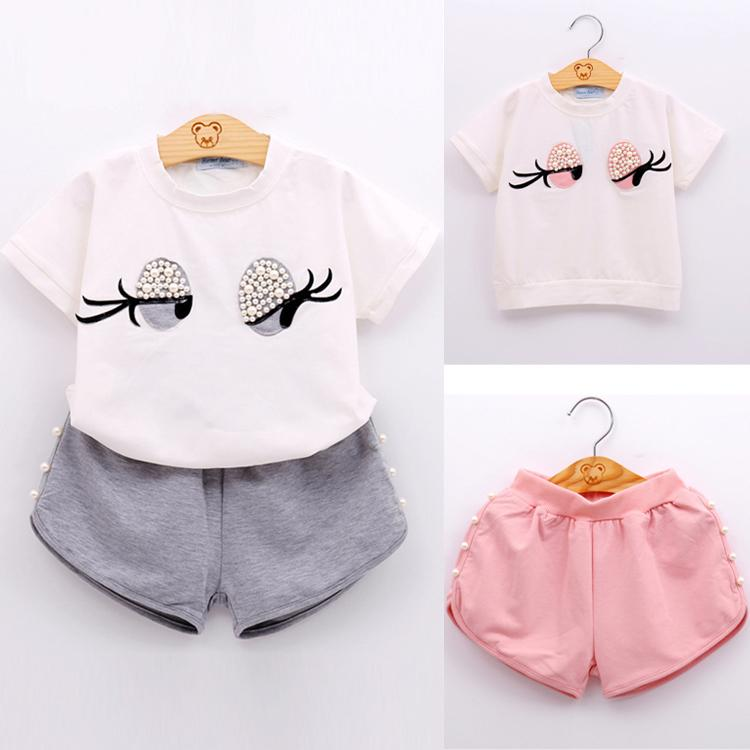 2 colors Summer T-shirt + Shorts 2 Piece Sets kids clothes Short Sleeve Cartoon T-shirt Solid Shorts kids designer clothes girls DHL JY146