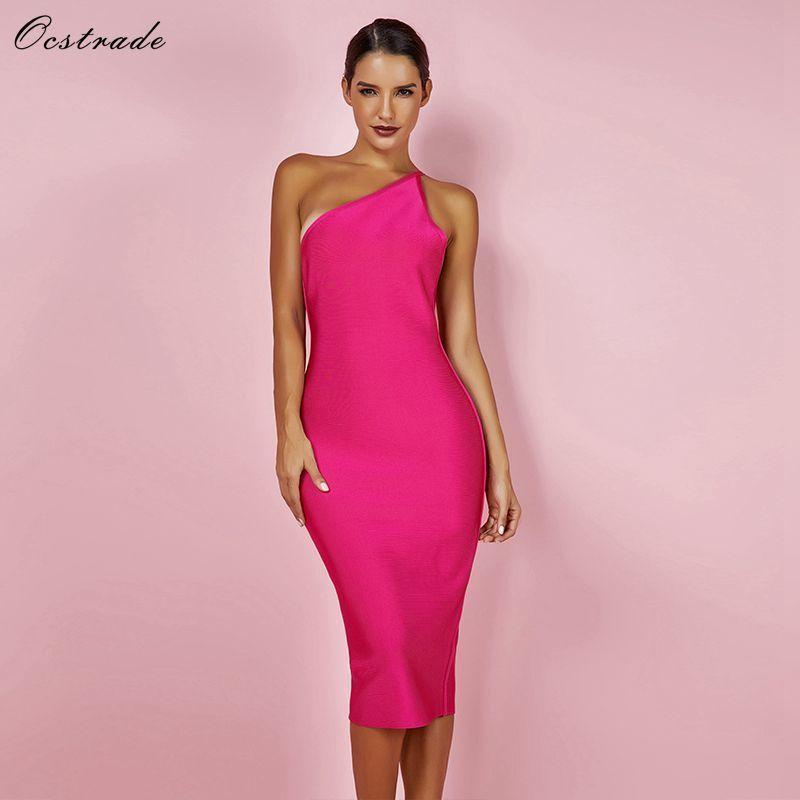 300b85910392e Ocstrade Fashion Summer Celeb Bandage Dress 2019 Hot Pink Backless Party  Dress Bodycon Sexy Women One Shoulder Bandage Dress Q190424