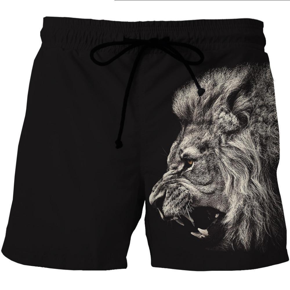 Compre LOVE SPARK Hombres Pantalones Cortos Deportivos Negros Estampado De  León Elástico Culturismo Gimnasio Correr Chicos Deportivos Pantalones Cortos  M A ... a4a38fddc61