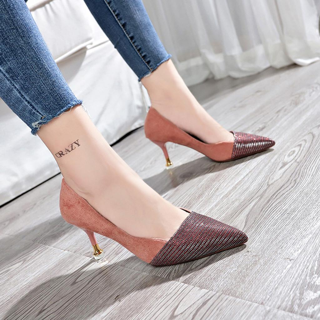 109d6635add Designer Dress Shoes Youyedian High Heels 2019 Spring Women Pumps Fashion  Sequins Pointed Toe Women Thin Heel Wedding Sapato Feminino Slippers For  Men ...