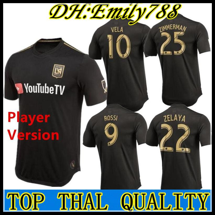 64a6005a2 2019 Player Version MLS 2019 LAFC Soccer Jersey Home Black Los Angeles FC  ZELAYA ROSSI VELA ZIMMERMAN DIO Football Shirt From Emily788