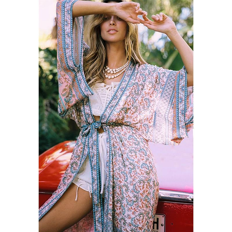2020 Sexy Vintage Floral Cover-Ups Swimwear Mulheres Praia Cover Up Cardigan Biquini tampa ups Robe Dress for Beach Pool