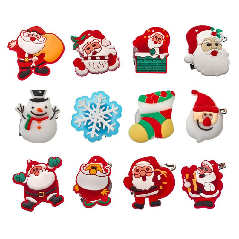 Noël LED Lumières Brillantes Brillants Père Noël Dessin Animé Pour Hommes Femmes Signe Vêtements Décoration De Partie Cadeaux Broches Décoratives
