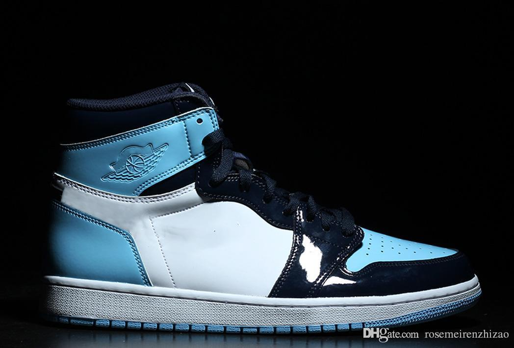 122363cddd2 2019 Newest 1 High OG UNC Patent Basketball Shoes Mens Obsidian Blue Chill  White Sports Boots Retro Sneakers CD0461-401 With Box Size 36-46