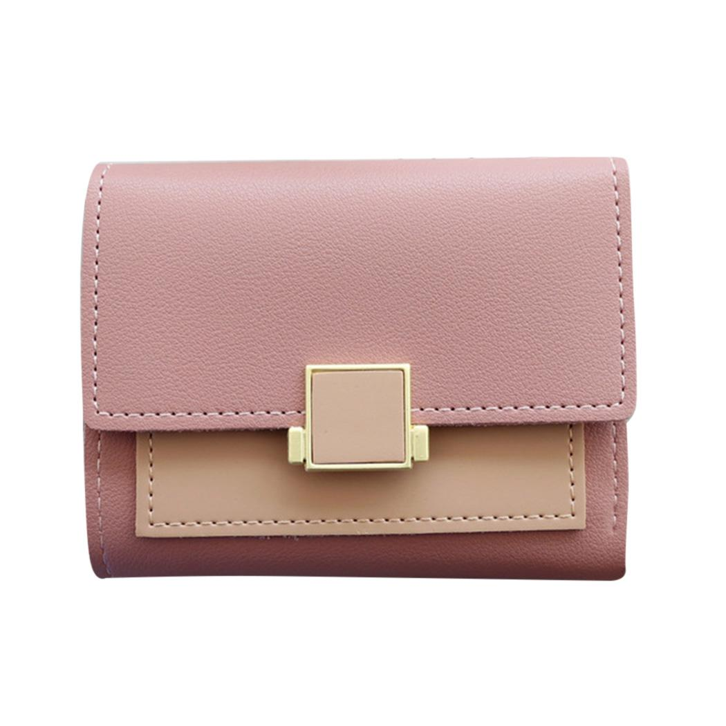 Color Matching Wallet Women Small Coin Purse Ladies Leather Wallets ... 22558aee2dc8
