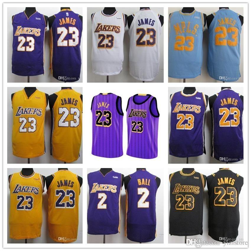the best attitude 8d336 e3f51 2018 2019 NEW 23 James la lakers Jersey LBJ Yellow lonzo ball Los Angeles  LeBron lakers Black kobe bryant Basketball Jerseys