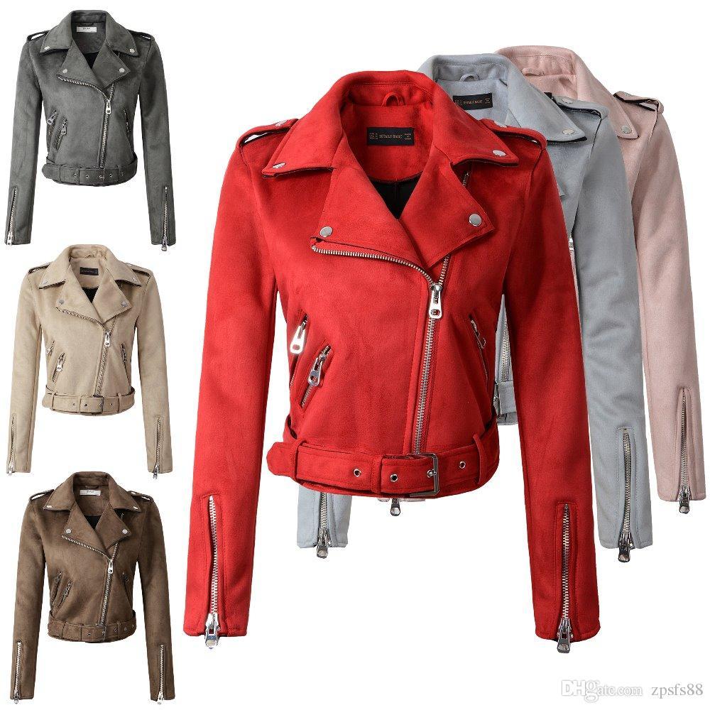 d4ce18b34 Compre 2018 Novo Outono Inverno Mulheres Motocicleta Faux PU Jaquetas De  Couro Rosa Vermelha Senhora Motociclista Outerwear Casaco Com Cinto Venda  Quente 7 ...