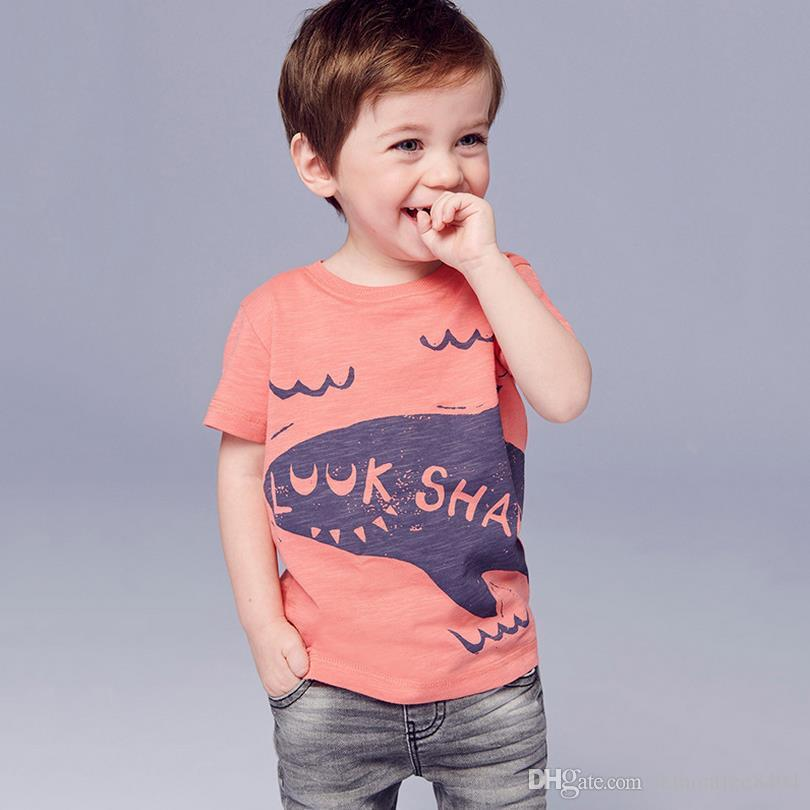 Designer kids t shirt Colorful baby t-shirt for boys shark printed t shirt kids short sleeve for summer 100%cotton Toddler clothes Richu