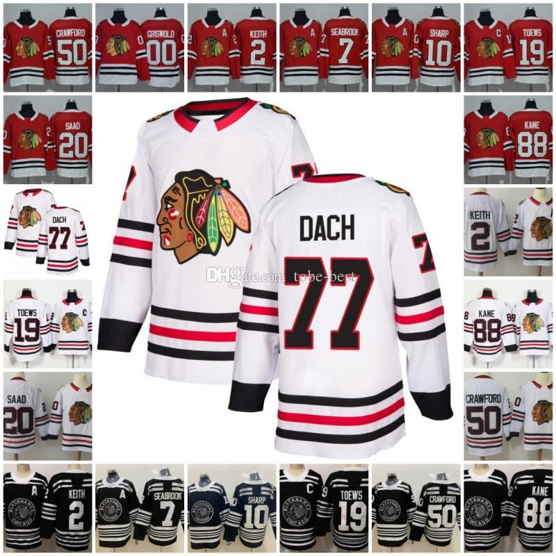 77 Kirby Dach Chicago Blackhawks Trikot Hockey Duncan Keith Jonathan Toews 88 Patrick Kane Corey Crawford Patrick Scharfer Saad Griswold