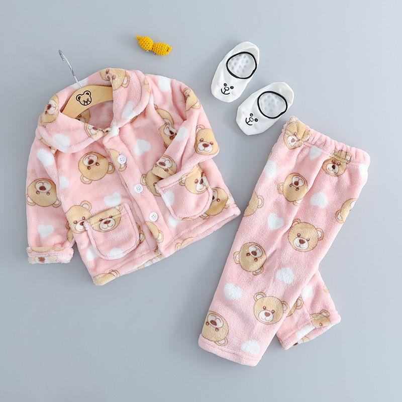 Good Quality Toddler Kids Winter Autumn Pajamas Set Animal Flannel Sleepwear  Penguin Bear Star Print Baby Girl Boy Clothes Pyjama Boys Pjs Children S ... b138ff7ad