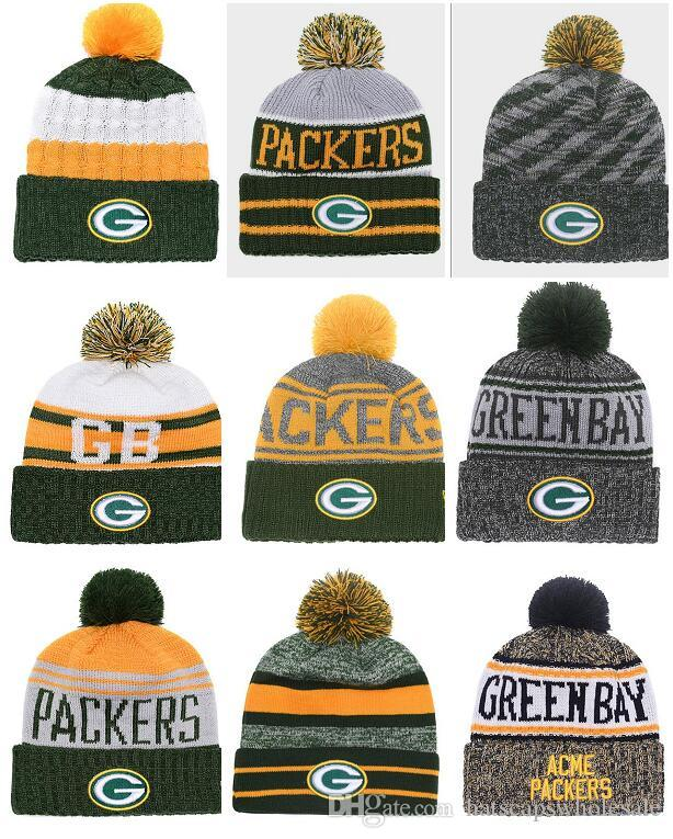 1df97bfa Wholesale New Pom Poms Men Women Winter Hats Sports Packers Beanies Fashion  Knitting Hat Embroidered Logo Brand Thick Female Warm Caps