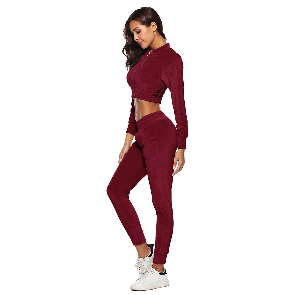588f60c03a7e2 Acheter Perimedes Slim Yoga Ensembles Femmes Survêtement Survêtement Sweat  Long 2019 Automne Hiver Pantalon Sport Lounge Wear Costume Ensembles # G40  De ...