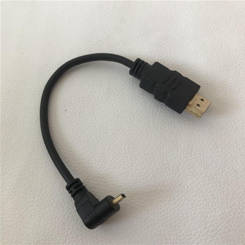 90 Degree Down Bending Micro HDMI Male to HDMI Male Adapter Converter Data  Extension Cable Black 15cm