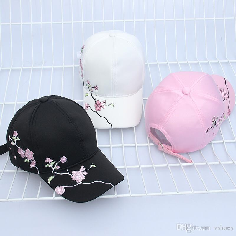 100% high quality Cotton Baseball Hats for Women Plum Blossom Embroidery Flower Hip hop Casual Snapback Caps Gifts #17391