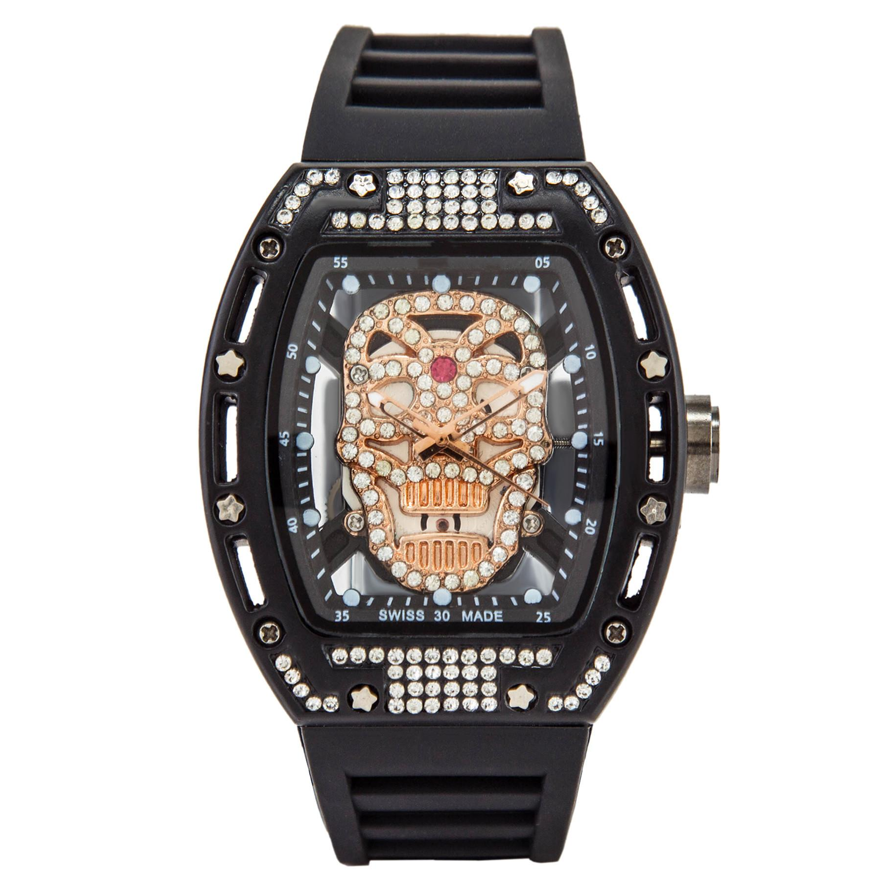 Web celebrity skull watch male European and American personality hollow-out silicone quartz male table barrels of water drill night light 19