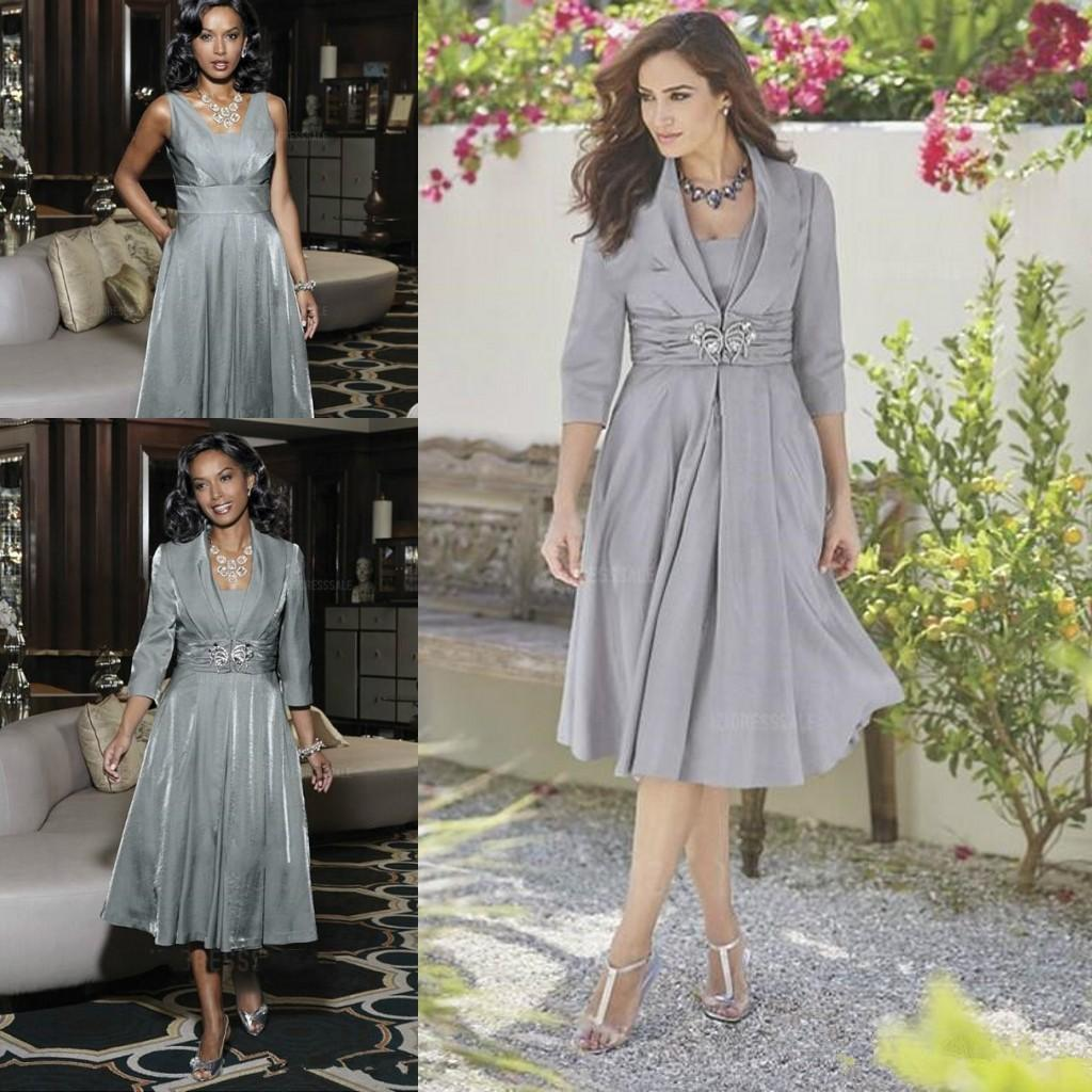 Vintage Silver Tea Length Mother Of The Bride Dresses With