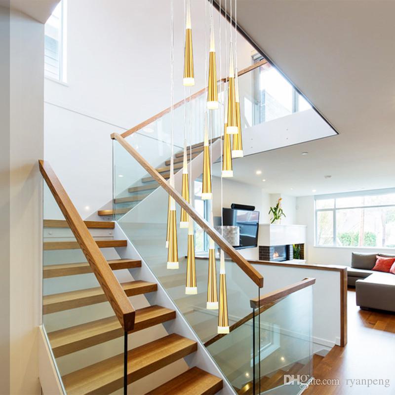 Wendeltreppe Kronleuchter Wohnzimmer Treppe Treppenhaus Lounge Beleuchtung  Splitter Gold Kronleuchter italienische moderne Kronleuchter LED-Lampe