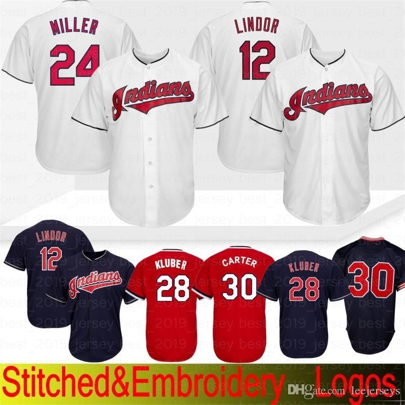 new style bd45e 03d03 Embroidery 10 Edwin Encarnacion Cleveland indians Jerseys 12 30 Joe Carter  28 Jersey Adult 24 Baseball Jersey 100% Stitched Top quality