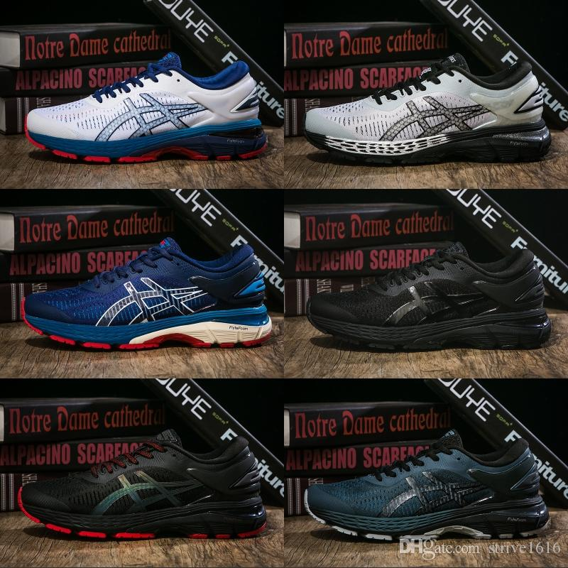 new product 560cd bf099 2019 Asics GEL-KAYANO 25 Men Running Shoes Balck Red Bule White  1011A022-001 Best Quality Men Sports Sneakers Size 40.5-45