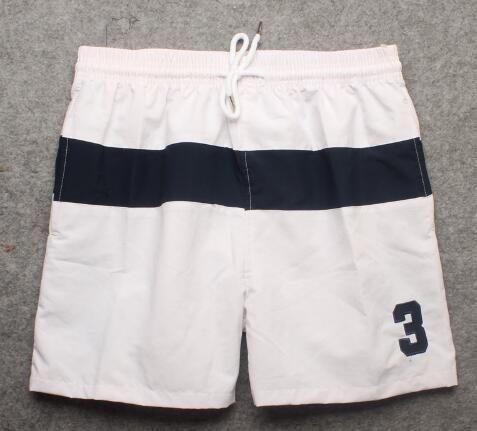 80f5a9945 Pas cher Mode Hommes rayé Polo Short en coton Numéro 3 Imprimer Summer  Beach Trunks Garçons Sports Board Short Pantalon Bleu Blanc