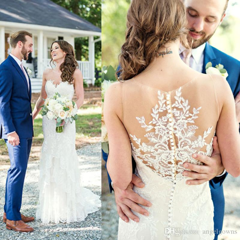 4de55e878230 Sexy Illusion Back Mermaid Country Wedding Dresses Lace Appliques New 2019  Sheer Jewel Neckline Trumpet Filed Farms Bridal Gowns Plus Size Organza  Mermaid ...