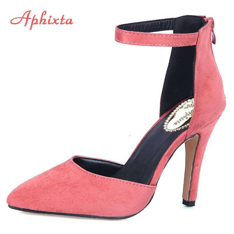 e6297dcb1a Compre Zapatos De Vestir De Diseñador Aphixta Moda Mujer Bombas Tacones  Finos Punta Estrecha Mujer Z Rosa Negro Beige Color Sólido Señoras Bombas  ...