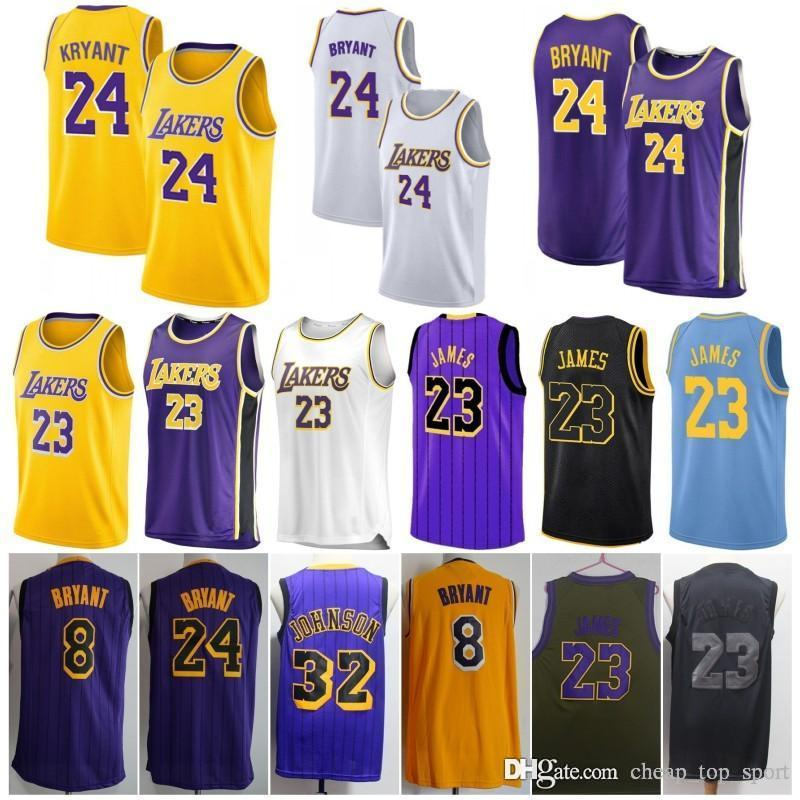 premium selection 1a716 97123 2019 New 23 James Laker Jersey 24 Kobe LeBron Bryant Los Angeles 8  Basketball 32 Johnson Embroidered Logo Jersey