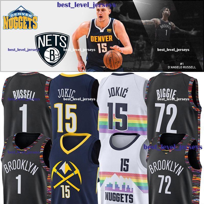 wholesale dealer 5956b 2d5a0 Brooklyn jersey Nets DAngelo jersey Russell Nikola 15 Jokic Denver City  Nuggets 72 Biggie