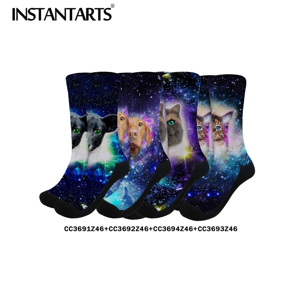 2019 INSTANTARTS Galaxy Animal Pet Dog Cat 3D Print Women S Long Cotton  Socks Breath Creative Crew Socks Drop Shipping Dress From Blackbirdd 38db089ed