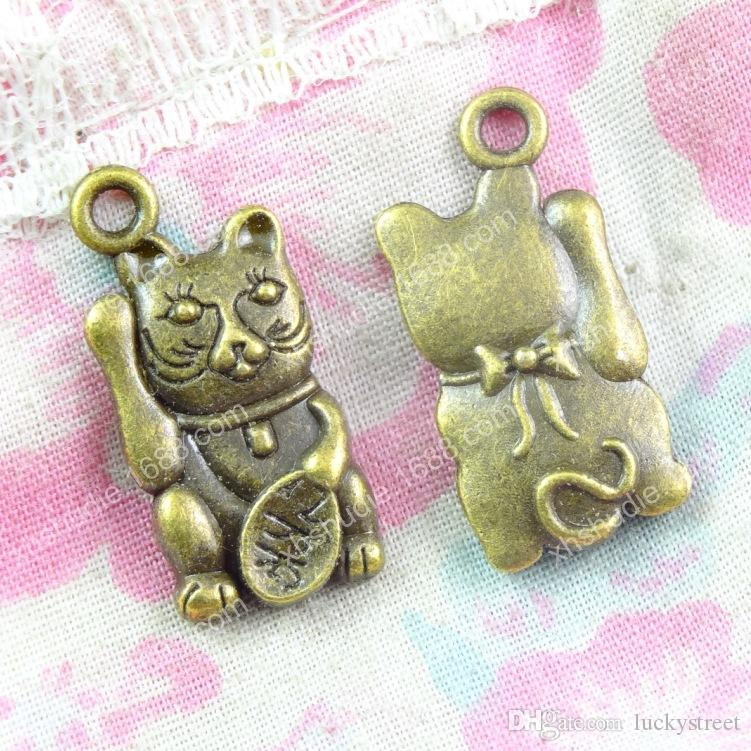 60pcs 10.8*22.9MM antique bronze tibetan alloy fortune cat charms for bracelet vintage metal pendant earring handmade DIY jewelry making