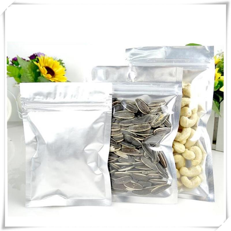 One-sided Clear Aluminum Foil Flat Bottom Bag, Foil Zip Lock Seal Bags for  Biscuits Sample Candy Party Gift Packaging