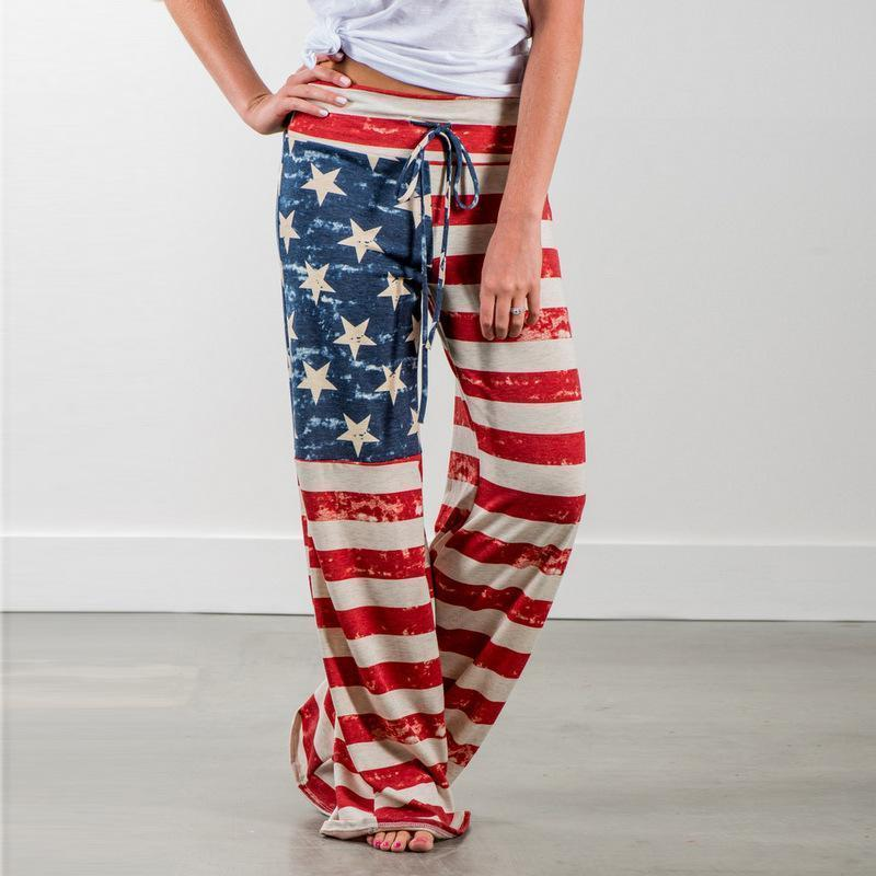 Autumn Nice Women Sleep Bottoms Pants Flag Of The United States Print Drawstring Wide Legs Trousers Pijama Plus Size 2XL B88281