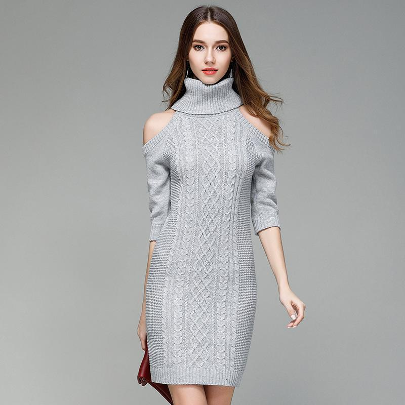 702d8ca792d0e Satın Al Sonbahar Kış Uzun Kazak Balıkçı Yaka Soğuk Omuz Örme Kadınlar  Casual Pamuk Streetwear Kazak Kadın Seksi Kadın Kazak Güzel, $42.11    DHgate.Com'da