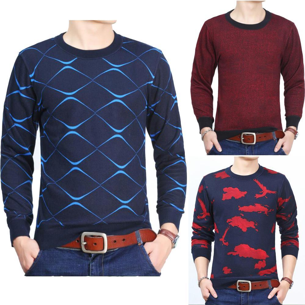 Mens Sweater 2018 Autumn Winter Thicken Warm Round Neck Casual Slim Fit Knitting Pullover Sweater Men Knitwear Homme Size L-3XL