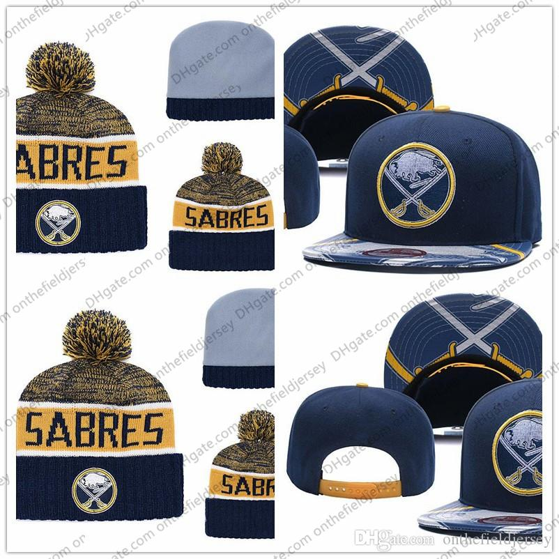 34d5dca9f40 2019 Men S Buffalo Sabres Ice Hockey Knit Beanie Embroidery Adjustable Hat  Embroidered Snapback Caps Gold White Navy Blue Stitched Knit Hat From ...