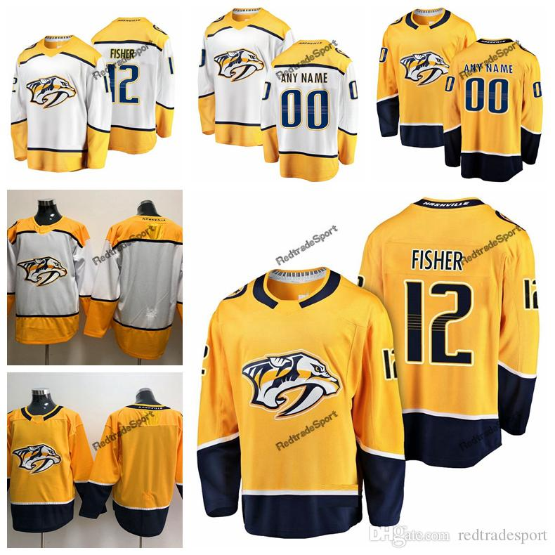 best sneakers b6e4e b14ce 2019 Mike Fisher Nashville Predators Hockey Jerseys Cheap Mens Gold #12  Mike Fisher Stitched Jerseys Customize Shirts C Patch