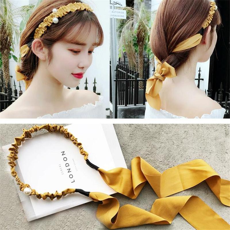 1 pc Korean Style Women Fashion Fairy Plaid Peals Hairband Headband Girls Bow Bezel Ribbon Hair Make Tools Hair Accessories