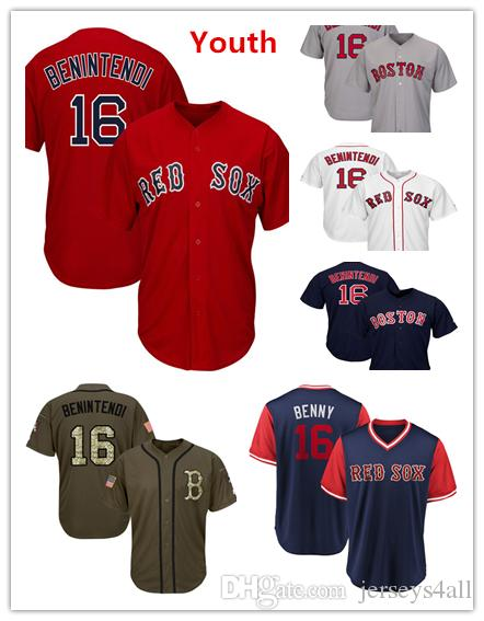 check out 878ca 0b492 Youth Kids Child Boston Red Sox 16 Baseball Jerseys Andrew Benintendi Red  White Navy Gray Grey Jersey Green Salute Players Weekend All Star
