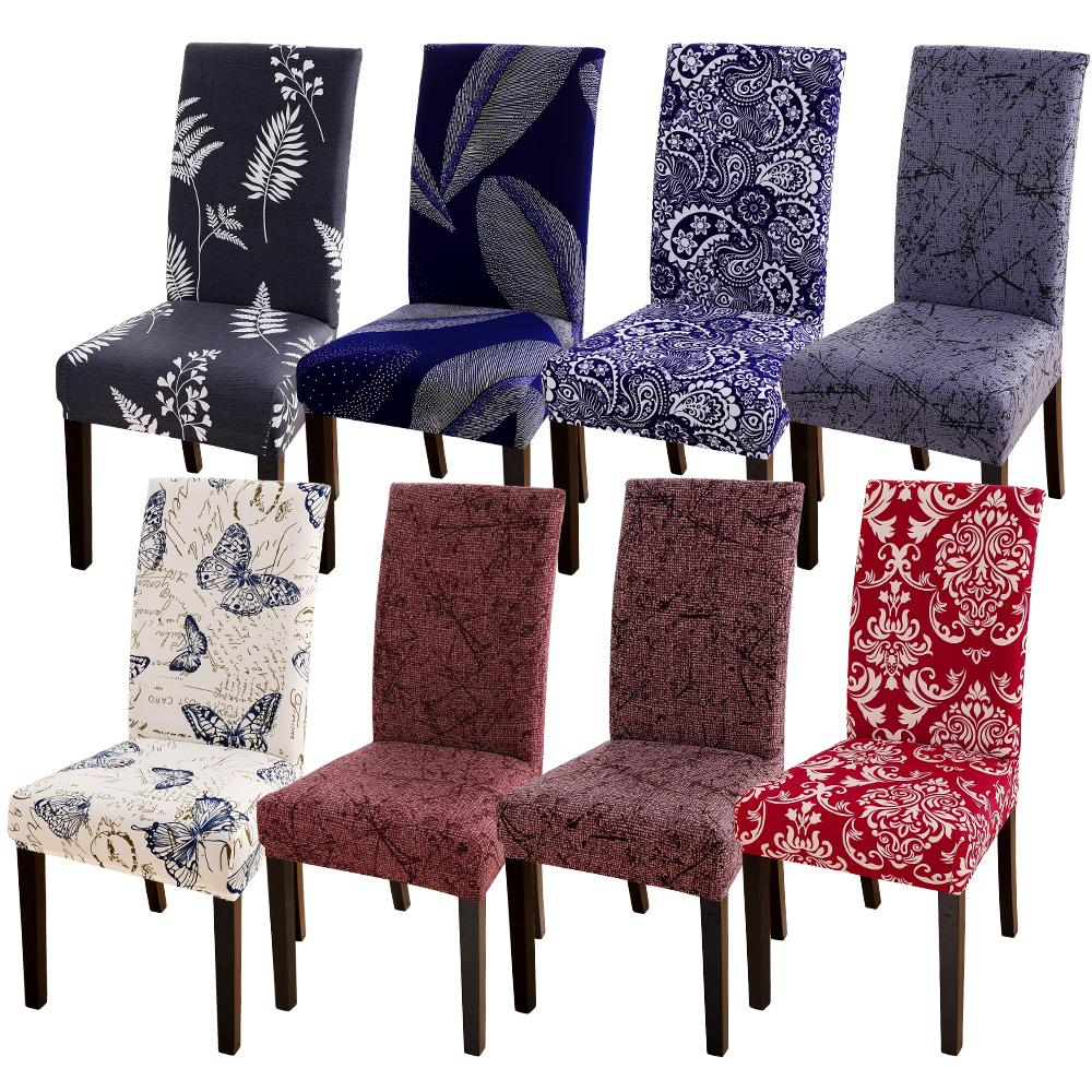 Flower Printed Chair Cover For Wedding Party Banquet Hotel Big Elastic Kitchen Slipcover Removable Anti-dirty Seat Cover