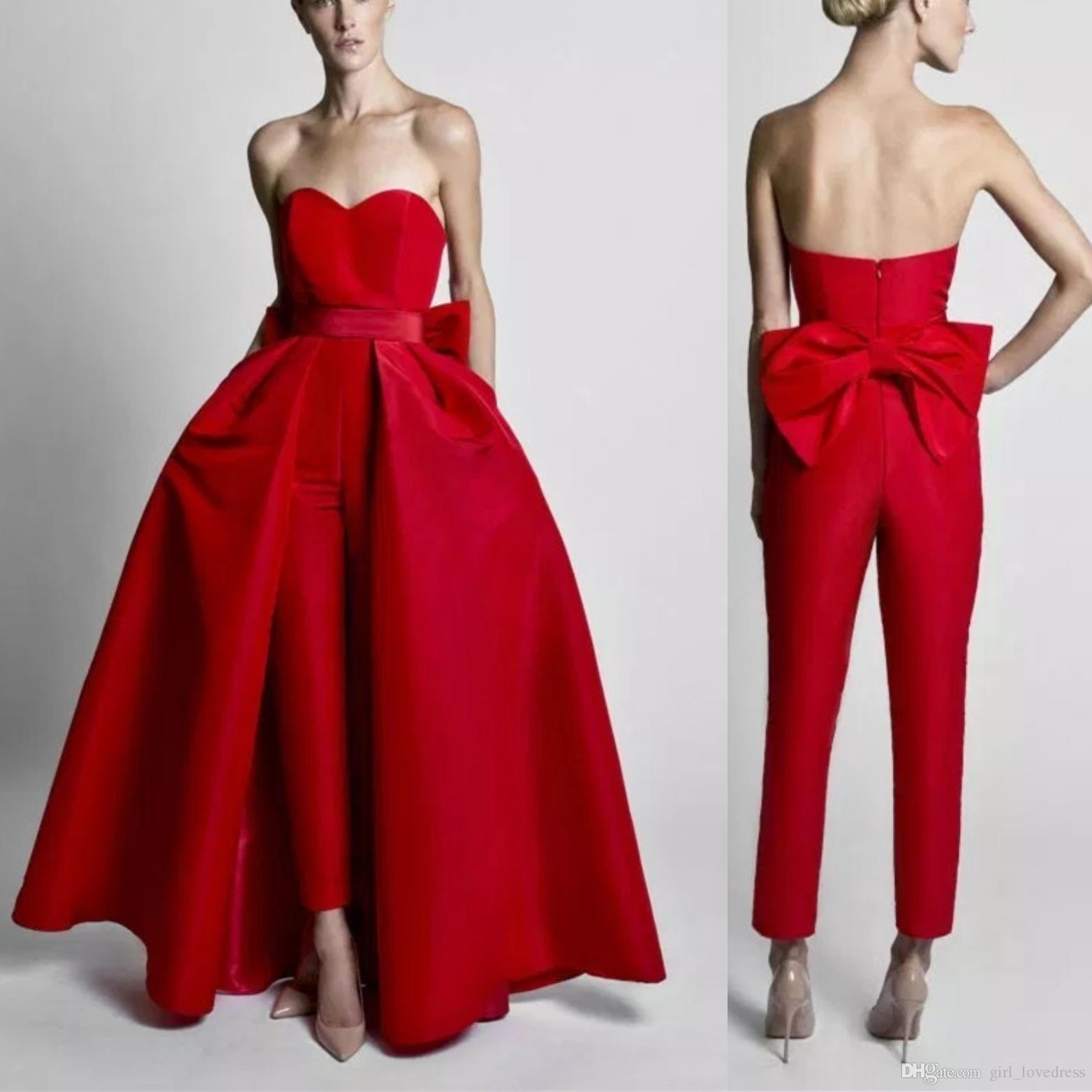 016b23098 Compre Elegantes Monos Rojos Vestidos De Noche Con Falda Convertible Cariño  Baile Vestidos Pantalones Para Mujeres Por Encargo A  100.5 Del  Girl lovedress ...