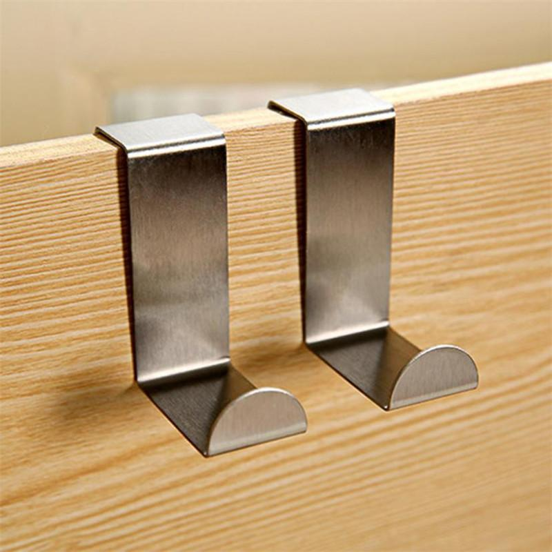 <b>2pcs Stainless</b> Steel <b>Door</b> Hanger Rack Metal Kitchen Cabinet ...