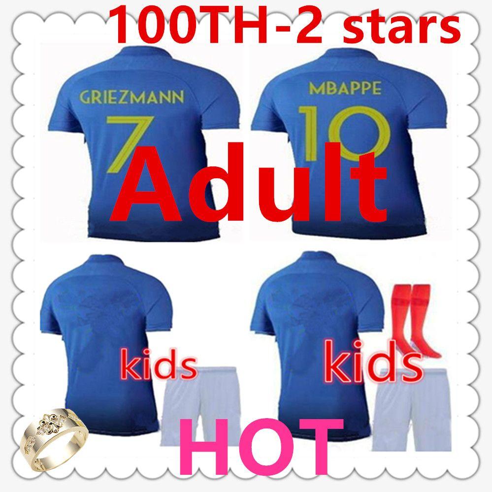 418315ccc31a3 Acheter Maillot Equipe De France Adulte Mens Designer T Shirts Maillot De Foot  Mbappe Enfants France GRIEZMANN Kids Soccer Jersey 19 20 KANTE Football ...