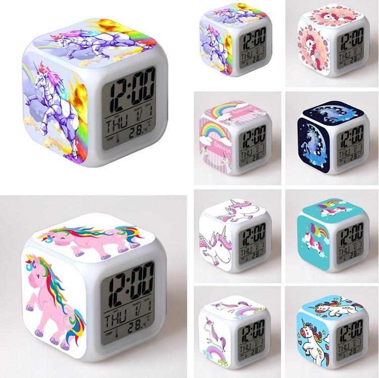 Unicorn alarm clocks colorful LED square clock student creative gifts  discoloration small alarm clock Kids Toys Party Favor I503