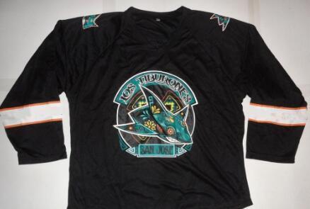 f9e85361c61 2019 Retro Vintage SAN JOSE SHARKS LOS TIBURONES HOCKEY FAN SGA Hockey  Jersey Embroidery Stitchedor Custom Any Name Or Number Retro Jersey From  C20182604, ...
