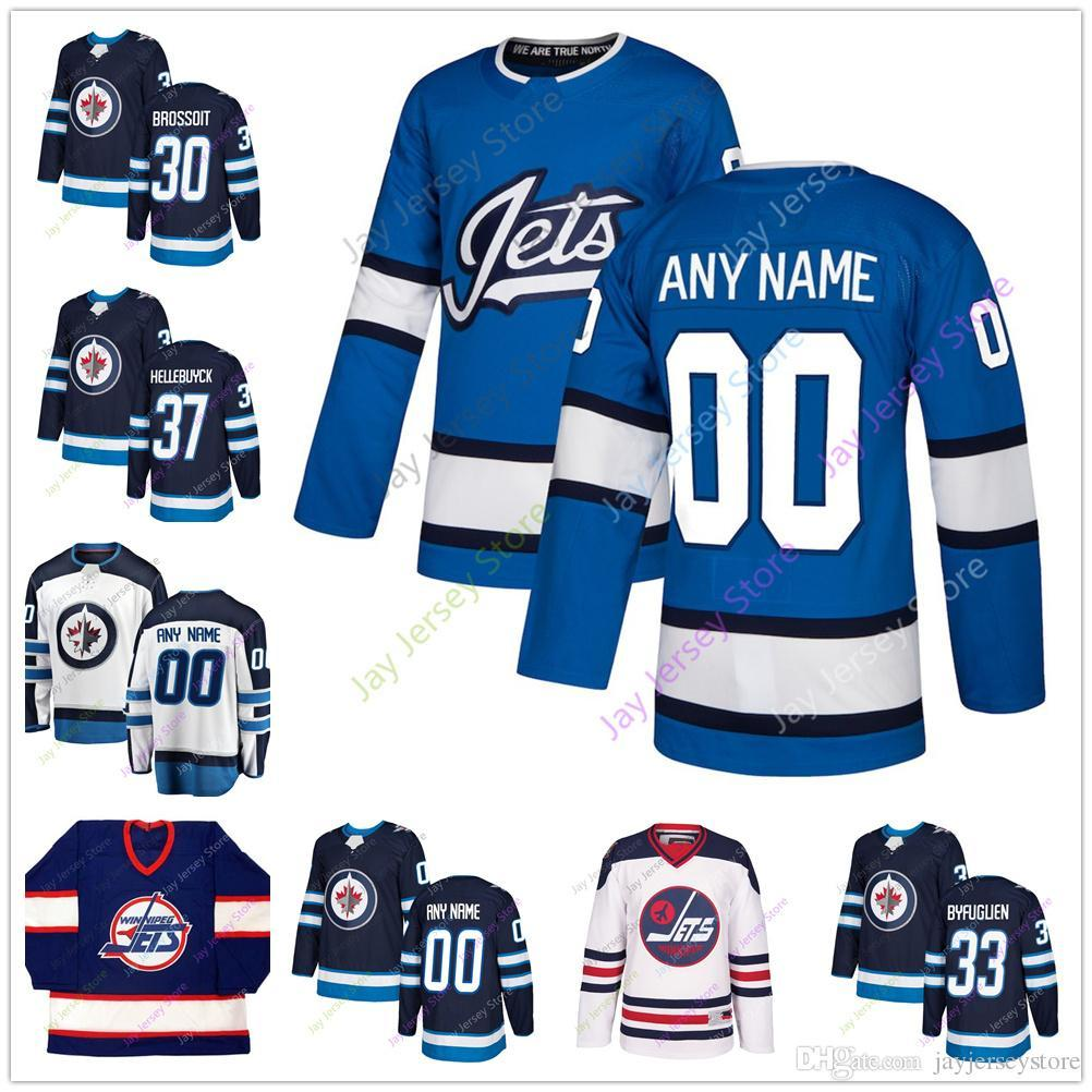 buy online 1f002 473ef 33 Dustin Byfuglien Laurent Brossoit Connor Hellebuyck Jersey Winter  Classic Winnipeg Jets Branded Blue Salute 2018 2019 Men Women Youth Kid