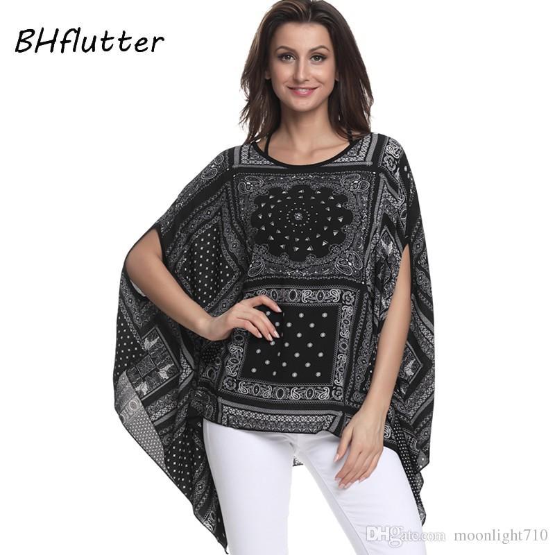 6123a697986 2019 BHflutter Women Blouses New Print Chiffon Blouse Shirt Batwing Sleeve  Casual Loose Boho Summer Tops Tees Plus Size 4XL 6XL From Moonlight710