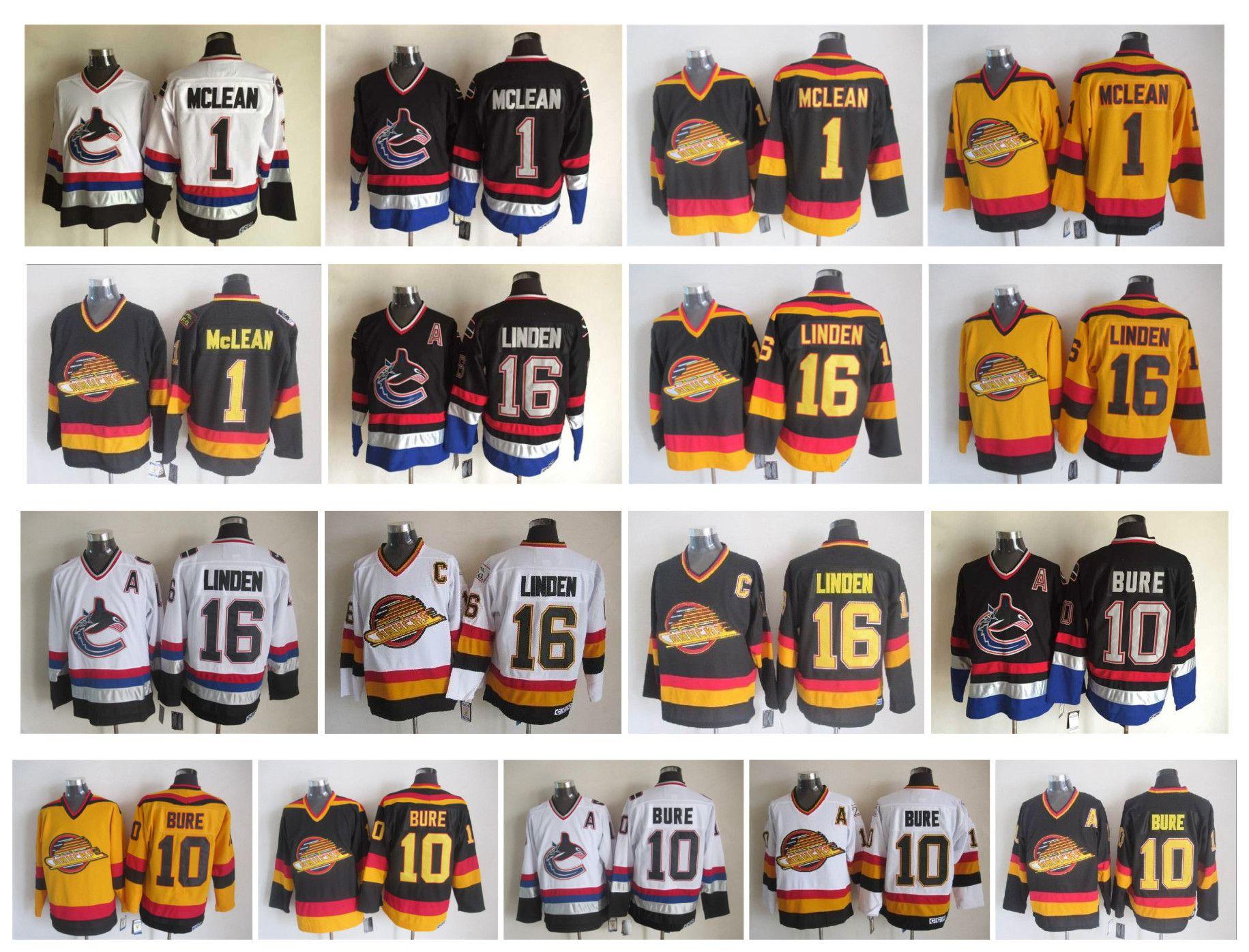 buy popular f16ad ef8ae Vintage NHL Vancouver Canucks Jersey 1 Kirk Mclean 10 Pavel Bure 16 Trevor  Linden Black White Yellow Retro CCM Hockey Jerseys